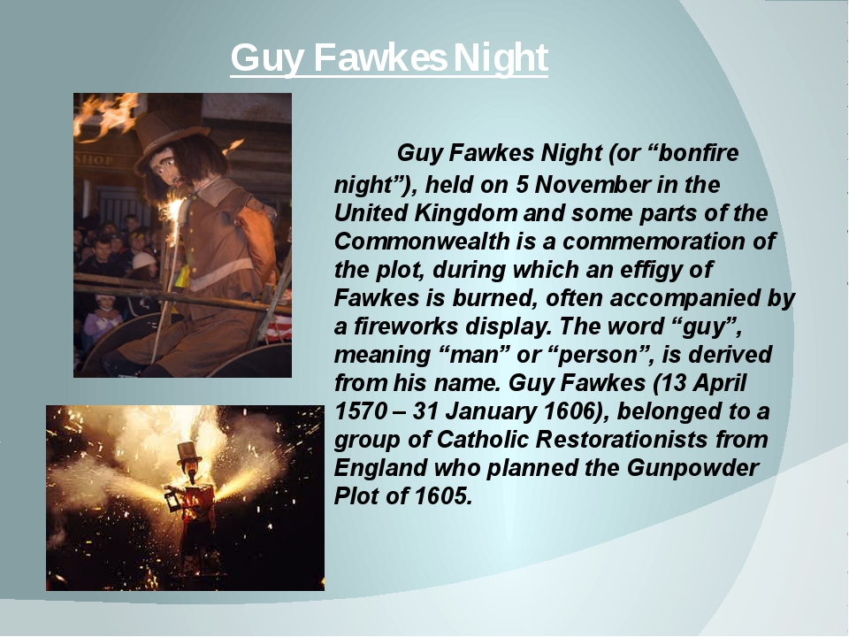"Guy Fawkes Night Guy Fawkes Night (or ""bonfire night""), held on 5 November in..."