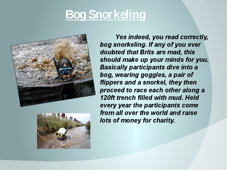 Bog Snorkeling Yes indeed, you read correctly, bog snorkeling. If any of you...