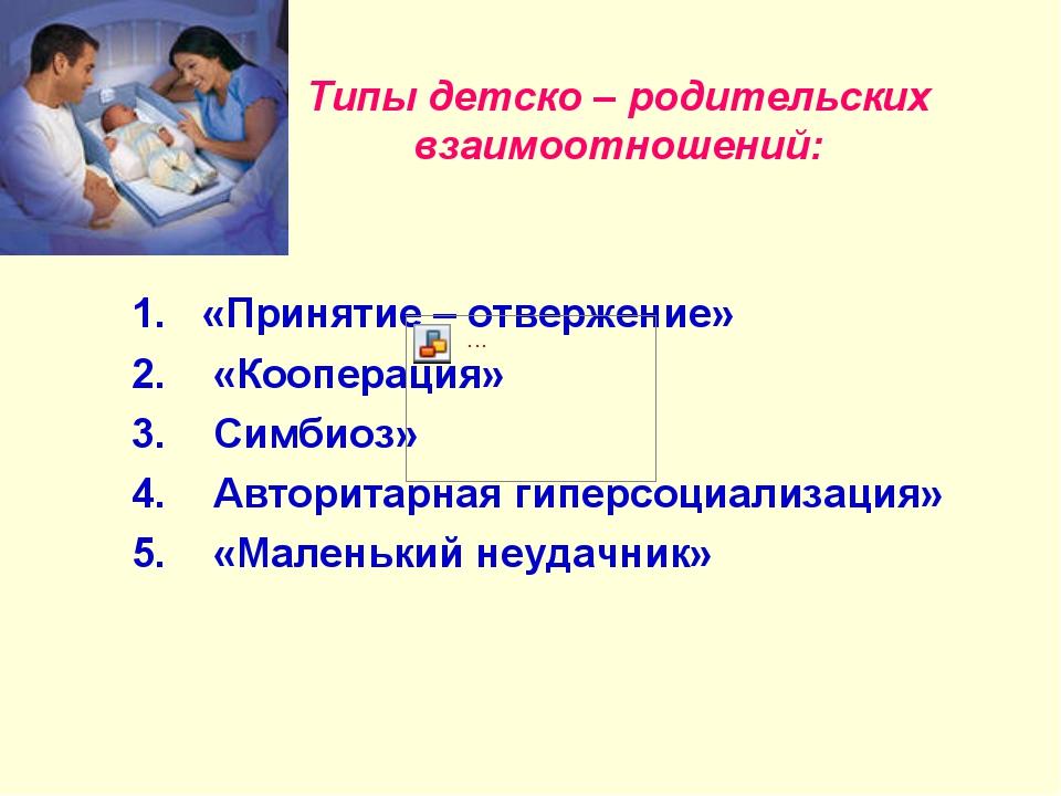 Типы детско – родительских взаимоотношений: «Принятие – отвержение» «Кооперац...
