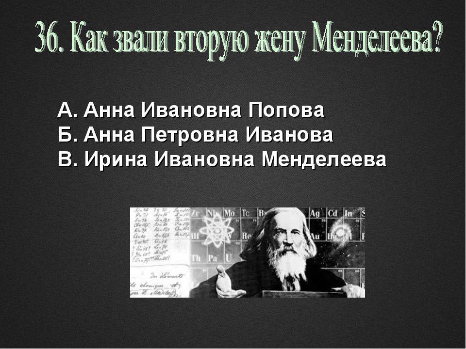 А. Анна Ивановна Попова Б. Анна Петровна Иванова В. Ирина Ивановна Менделеева