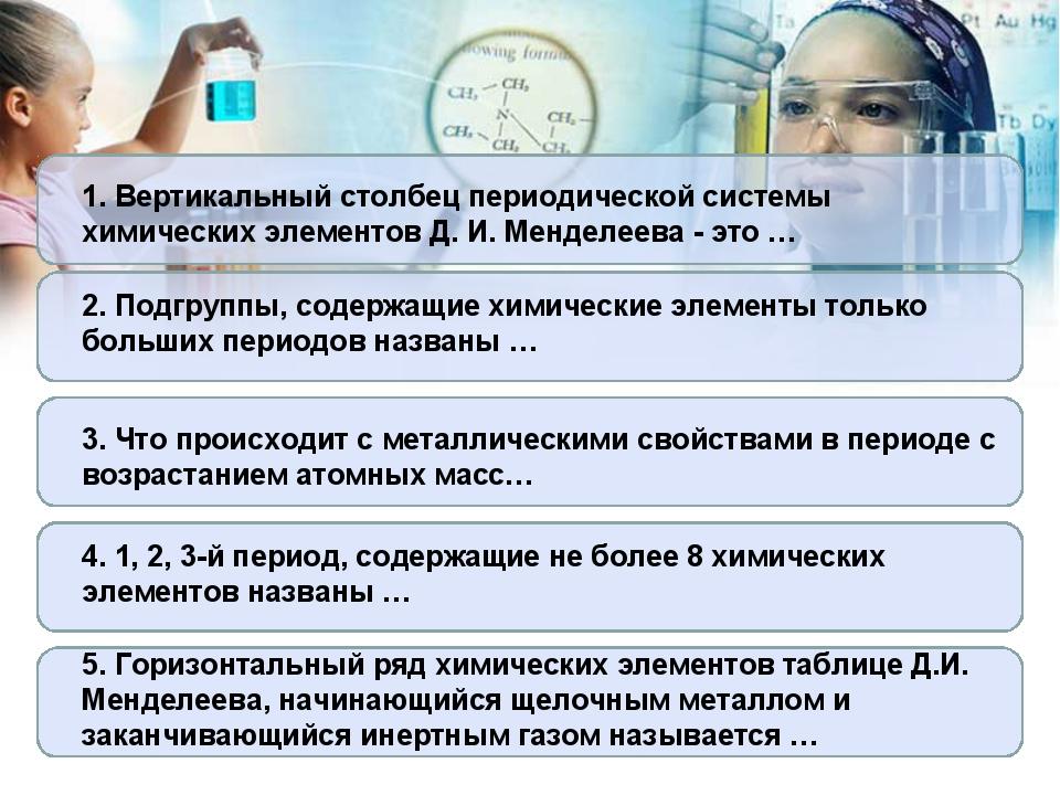 1. Вертикальный столбец периодической системы химических элементов Д. И. Менд...