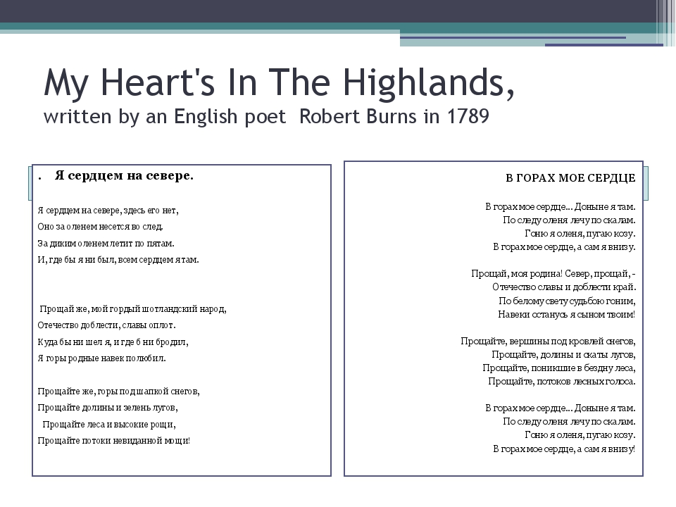 My Heart's In The Highlands, written by an English poet Robert Burns in 1789...