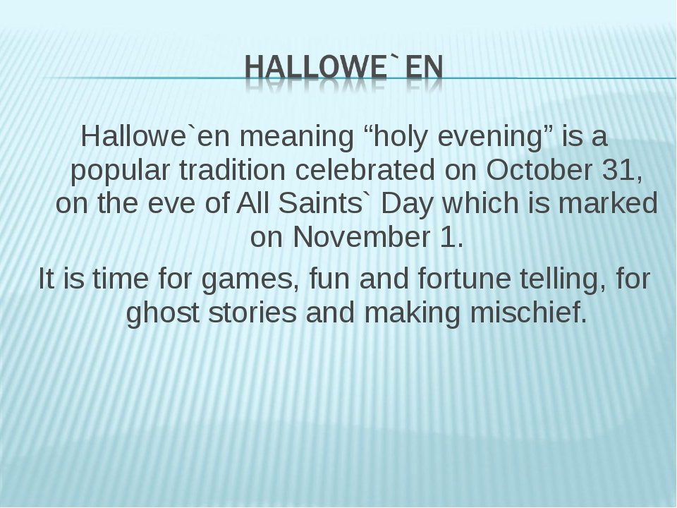"""Hallowe`en meaning """"holy evening"""" is a popular tradition celebrated on Octobe..."""