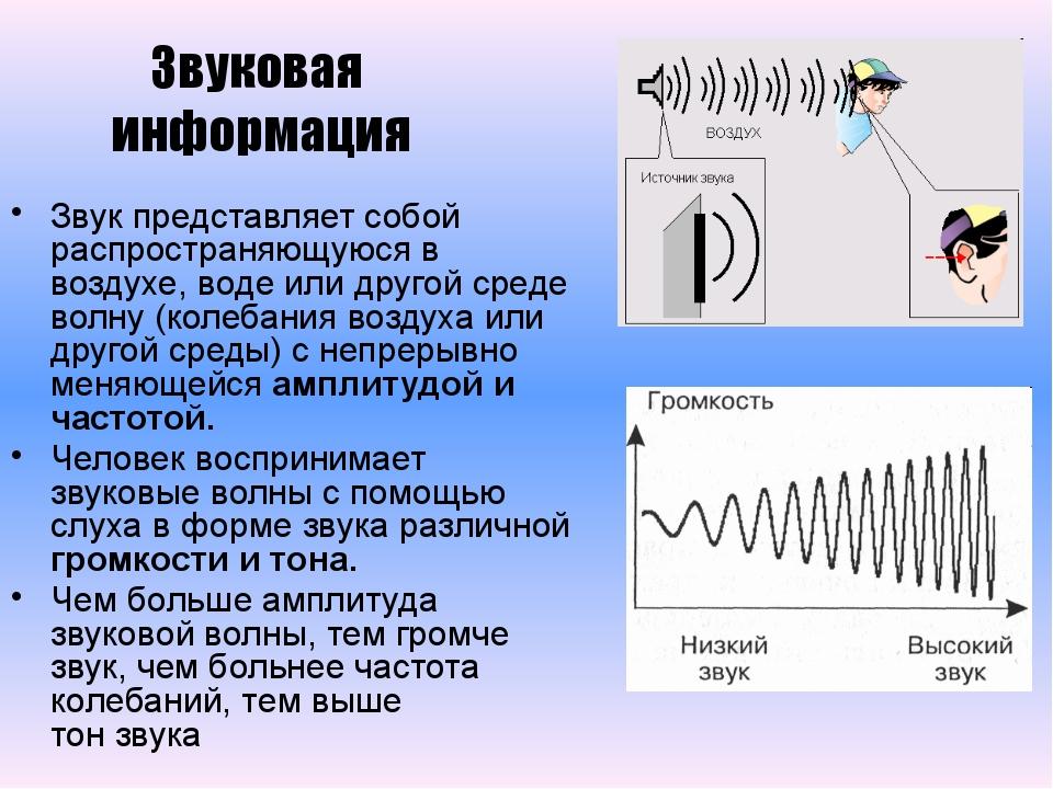 Звук представляет собой распространяющуюся в воздухе, воде или другой среде в...