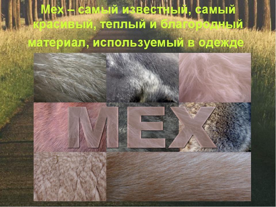 Мех – самый известный, самый красивый, теплый и благородный материал, использ...