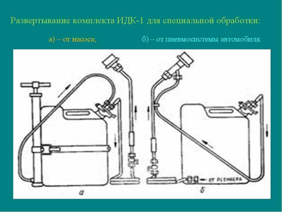 Развертывание комплекта ИДК-1 для специальной обработки: а) – от насоса; б) –...
