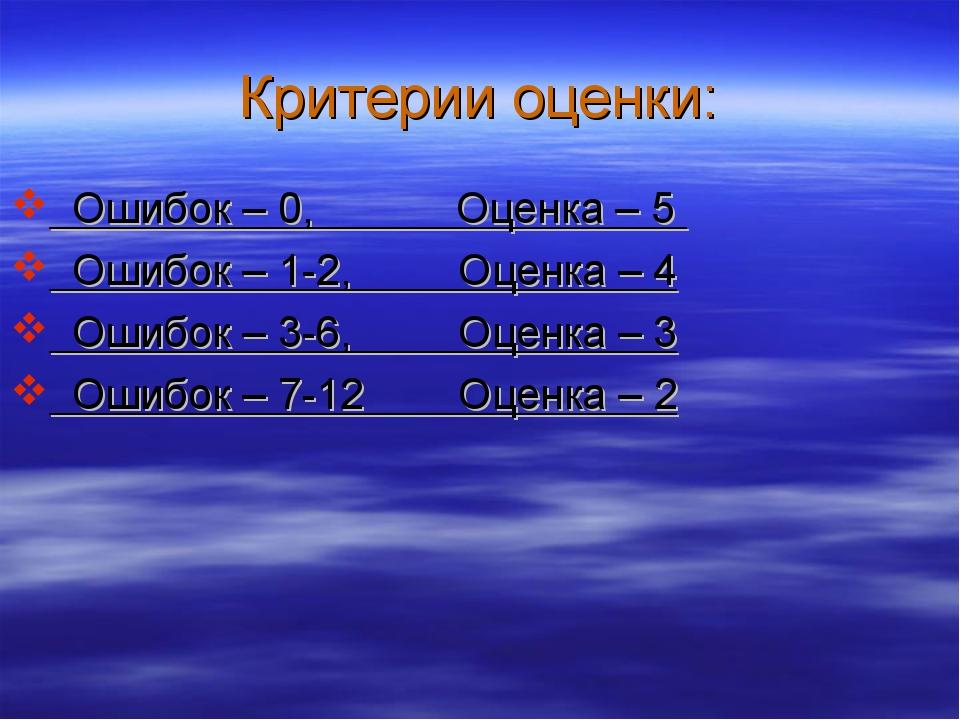 Критерии оценки: Ошибок – 0, Оценка – 5 Ошибок – 1-2, Оценка – 4 Ошибок – 3-6...