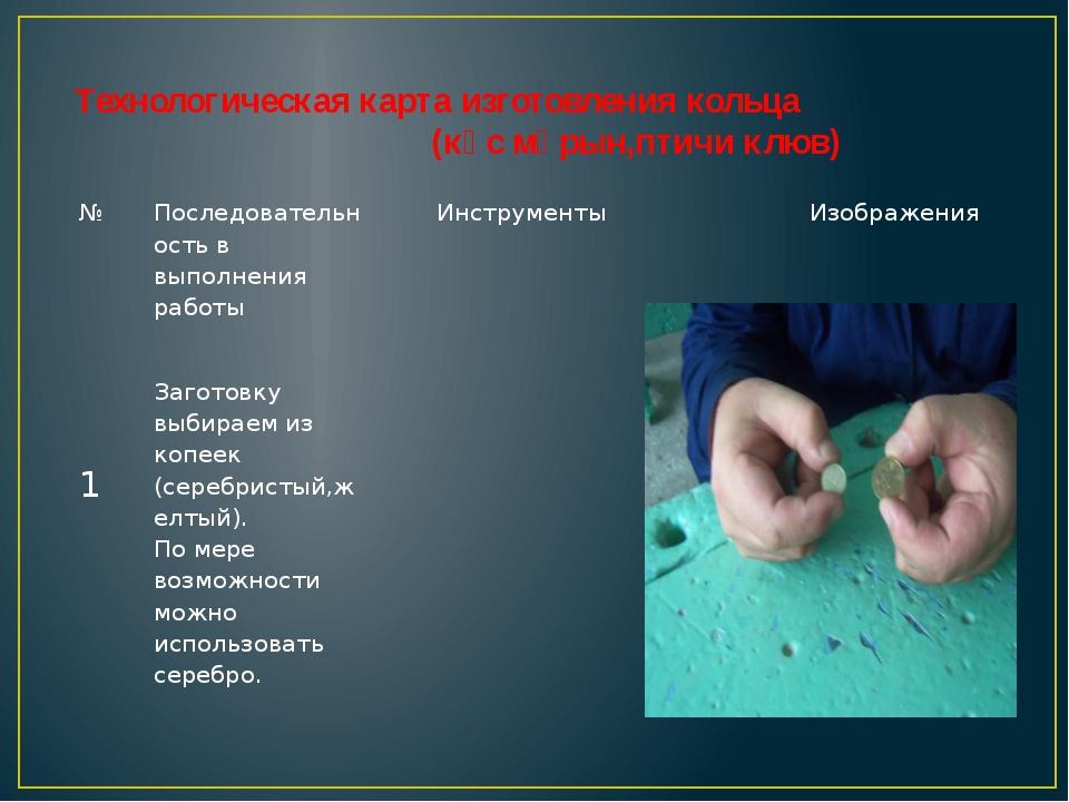 Технологическая карта изготовления кольца (кұс мұрын,птичи клюв) № Последо...