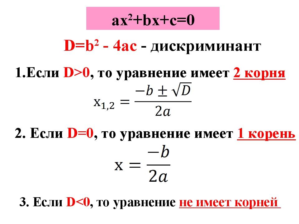 ах2+bx+c=0 D=b2 - 4ac - дискриминант Если D>0, то уравнение имеет 2 корня 2....