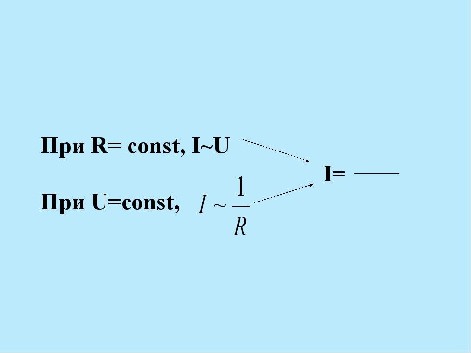 При R= const, I~U I= При U=const,