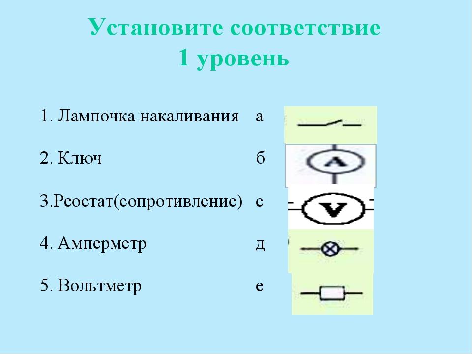 Установите соответствие 1 уровень 1. Лампочка накаливанияа 2. Ключ б 3.Реос...