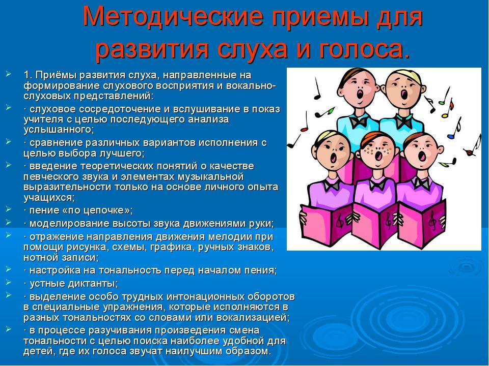Методические приемы для развития слуха и голоса. 1. Приёмы развития слуха, на...