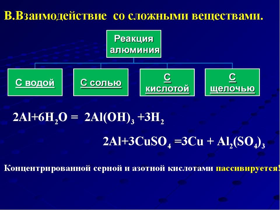 2Al+3CuSO4 =3Cu + Al2(SO4)3 2Al+6Н2O = 2Al(OH)3 +3H2 Концентрированной серно...