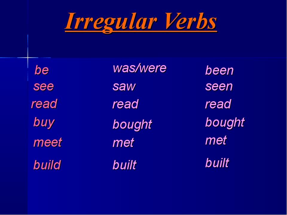 Irregular Verbs be see read buy meet build was/were saw read bought met built...