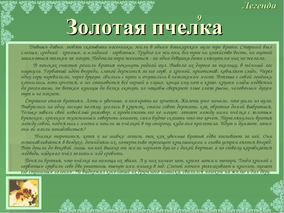 Давным-давно, любят сказывать пасечники, жили в одном башкирском ауле три бр...