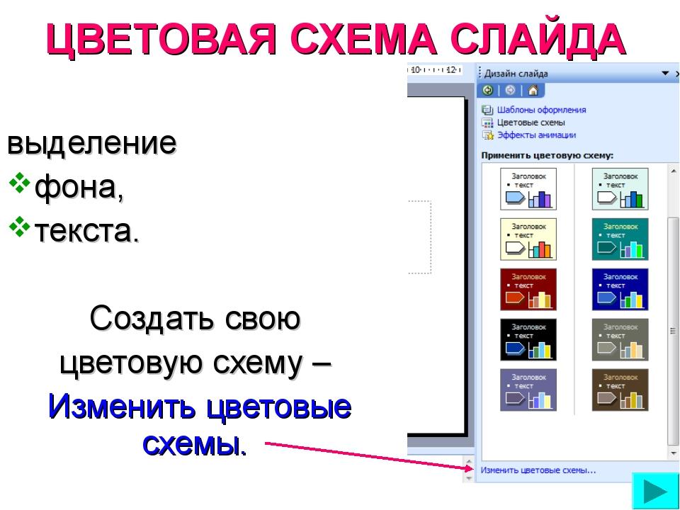 ЦВЕТОВАЯ СХЕМА СЛАЙДА выделение фона, текста. Создать свою цветовую схему – И...