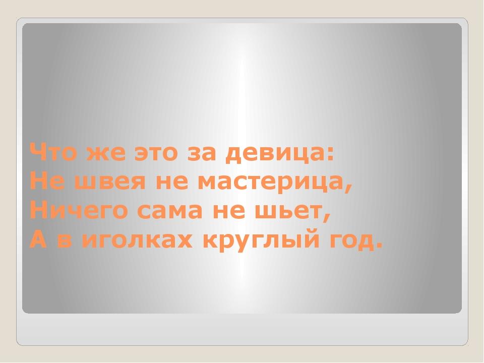 Что же это за девица: Не швея не мастерица, Ничего сама не шьет, А в иголк...