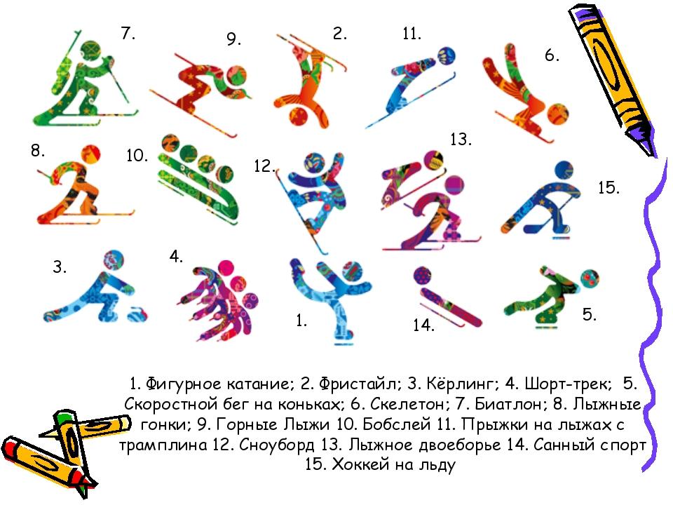 1. Фигурное катание; 2. Фристайл; 3. Кёрлинг; 4. Шорт-трек; 5. Скоростной бег...