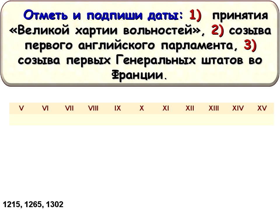 1215, 1265, 1302 VVIVIIVIIIIXXXIXIIXIIIXIVXV