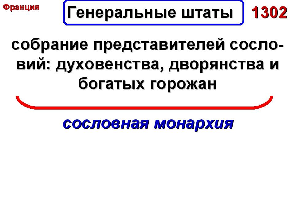 Генеральные штаты 1302 собрание представителей сосло-вий: духовенства, дворян...