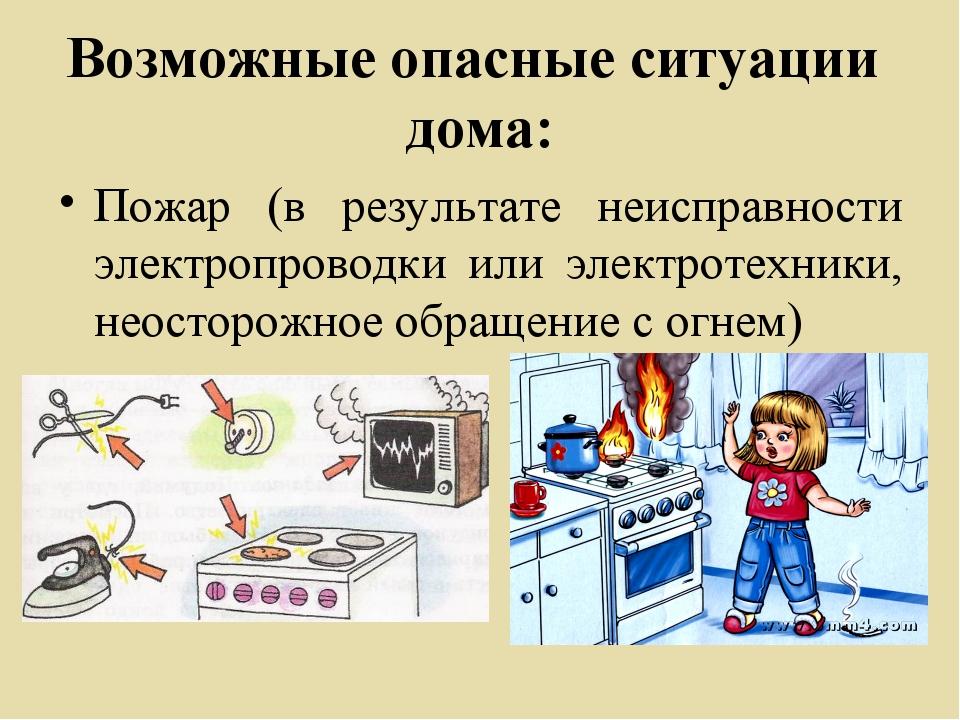 Возможные опасные ситуации дома: Пожар (в результате неисправности электропро...