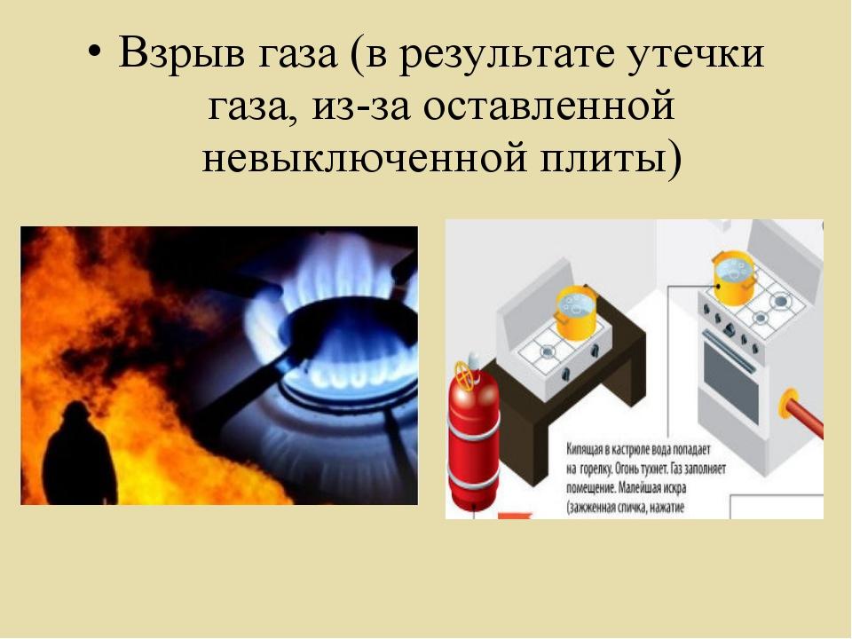 Взрыв газа (в результате утечки газа, из-за оставленной невыключенной плиты)
