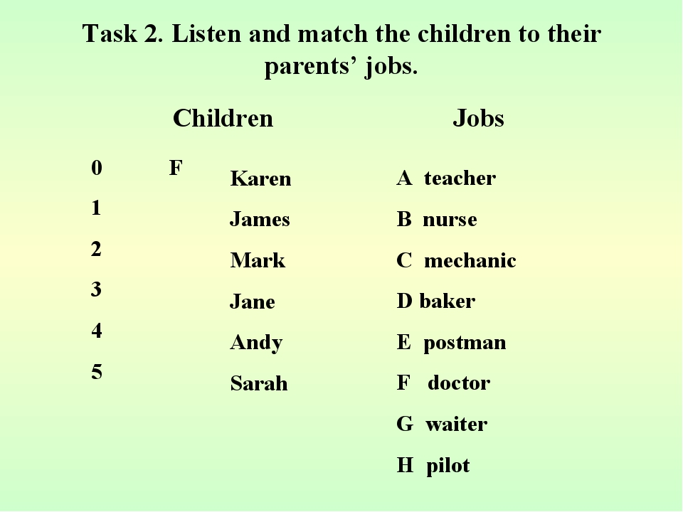 Task 2. Listen and match the children to their parents' jobs. A teacher B nur...