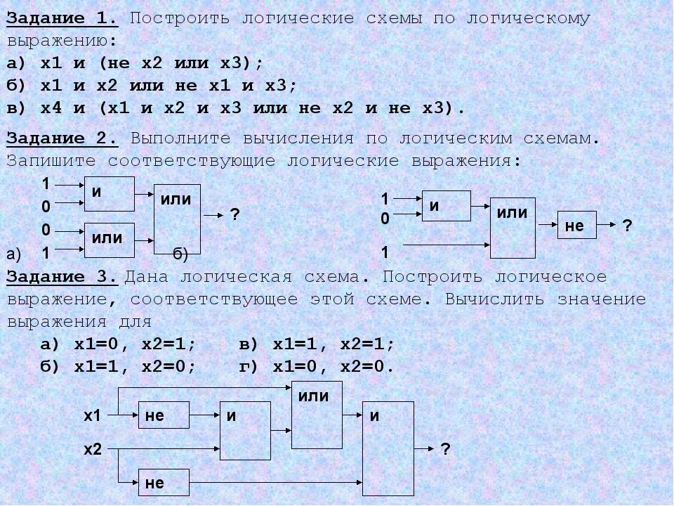 Задание 1. Построить логические схемы по логическому выражению: а) х1 и (не х...
