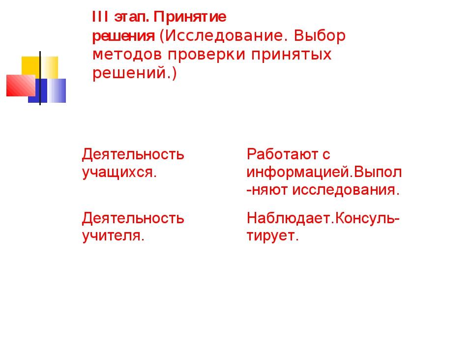 III этап. Принятие решения(Исследование. Выбор методов проверки принятых реш...