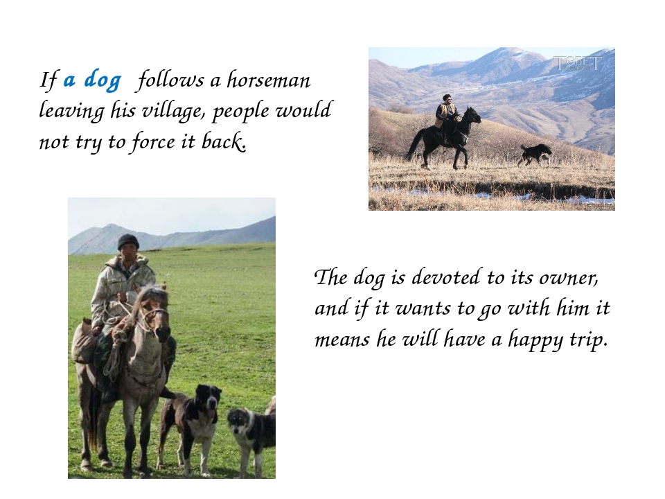 If a dog follows a horseman leaving his village, people would not try to forc...