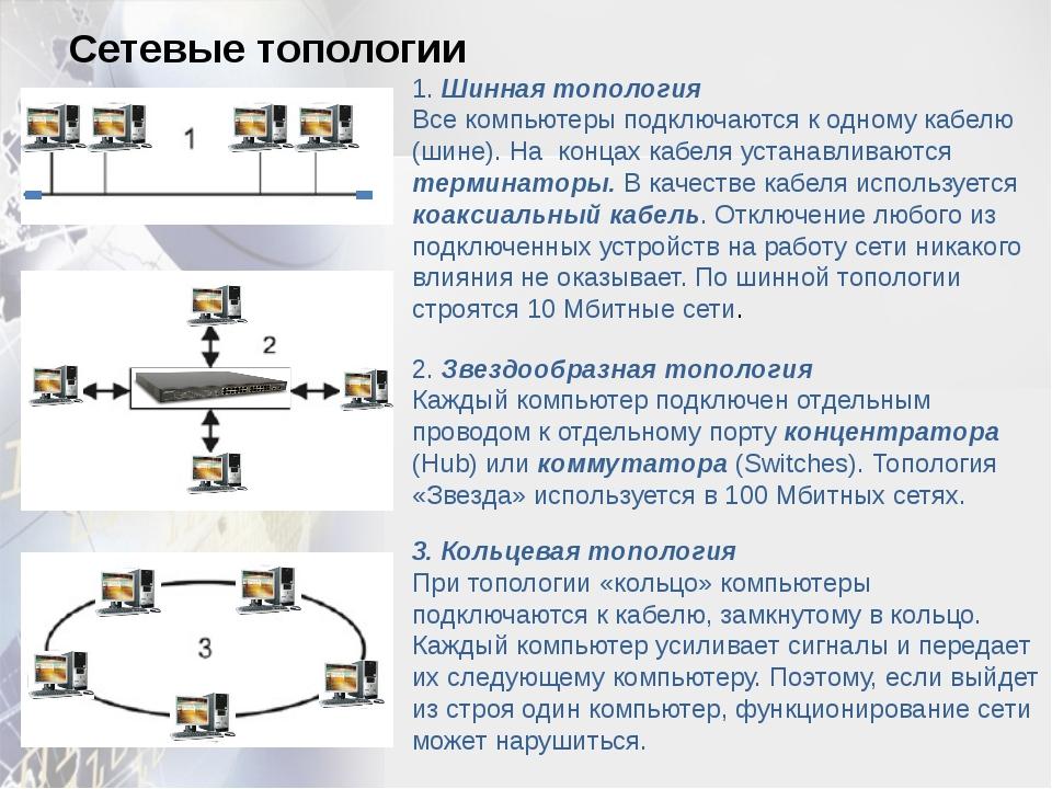 1. Шинная топология Все компьютеры подключаются к одному кабелю (шине). На к...