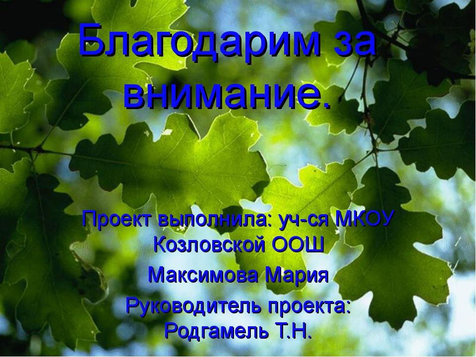 Благодарим за внимание. Проект выполнила: уч-ся МКОУ Козловской ООШ Максимова...