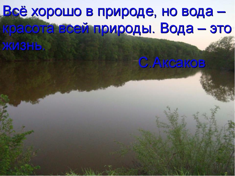 Всё хорошо в природе, но вода – красота всей природы. Вода – это жизнь. С.Акс...