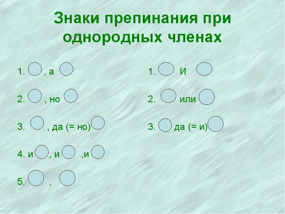 Знаки препинания при однородных членах 1. , а , но , да (= но) 4. и , и ,и 5....