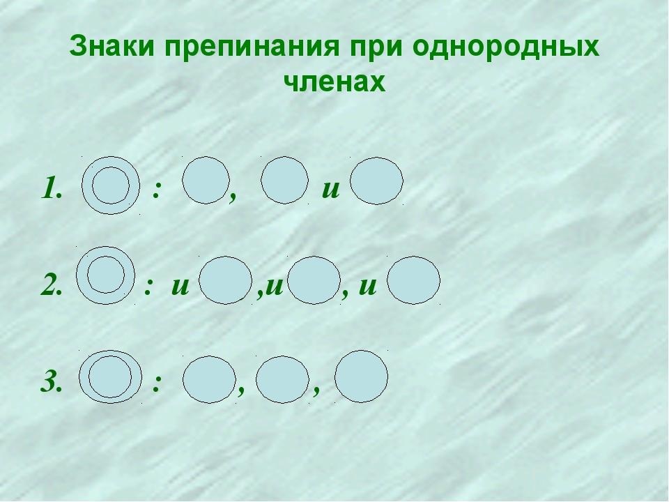 Знаки препинания при однородных членах : , и : и , ,и , и : , ,