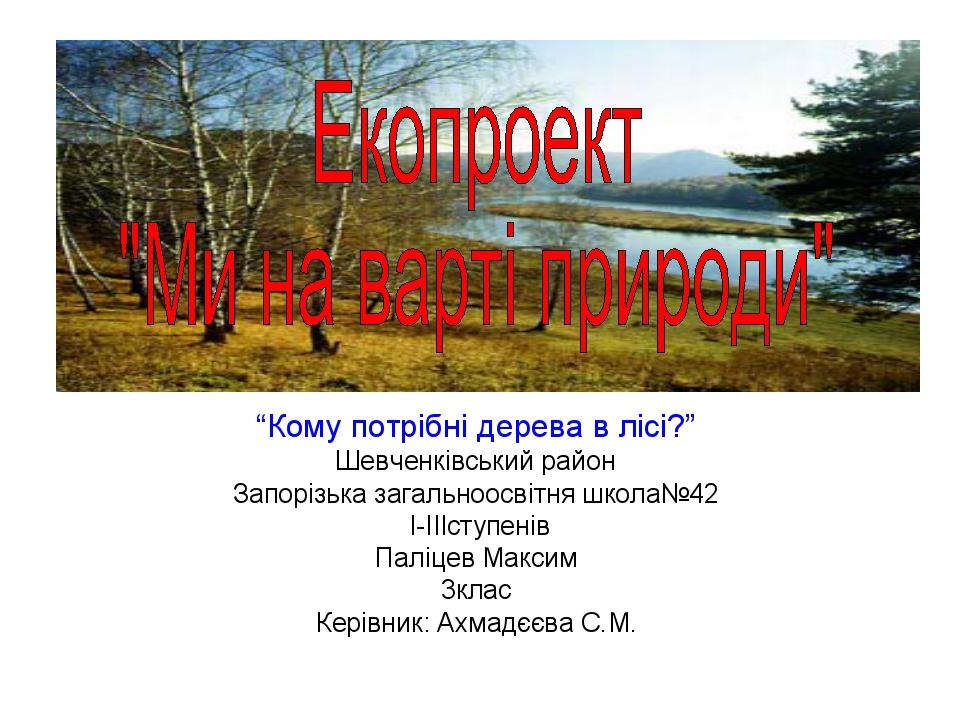"""""""Кому потрібні дерева в лісі?"""" Шевченківський район Запорізька загальноосвітн..."""