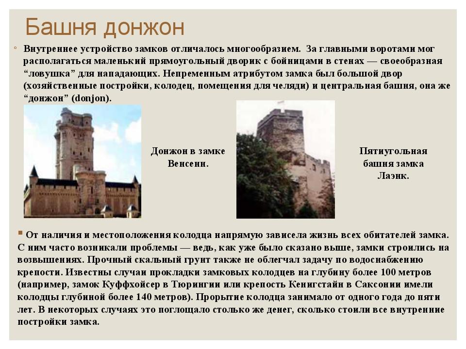 Башня донжон Внутреннее устройство замков отличалось многообразием. За главны...