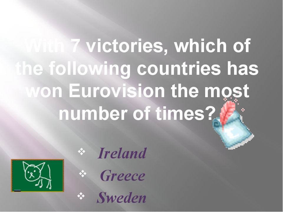 With 7 victories, which of the following countries has won Eurovision the mos...