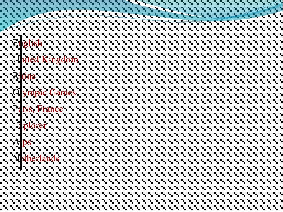 English United Kingdom Rhine Olympic Games Paris, France Explorer Alps Nether...
