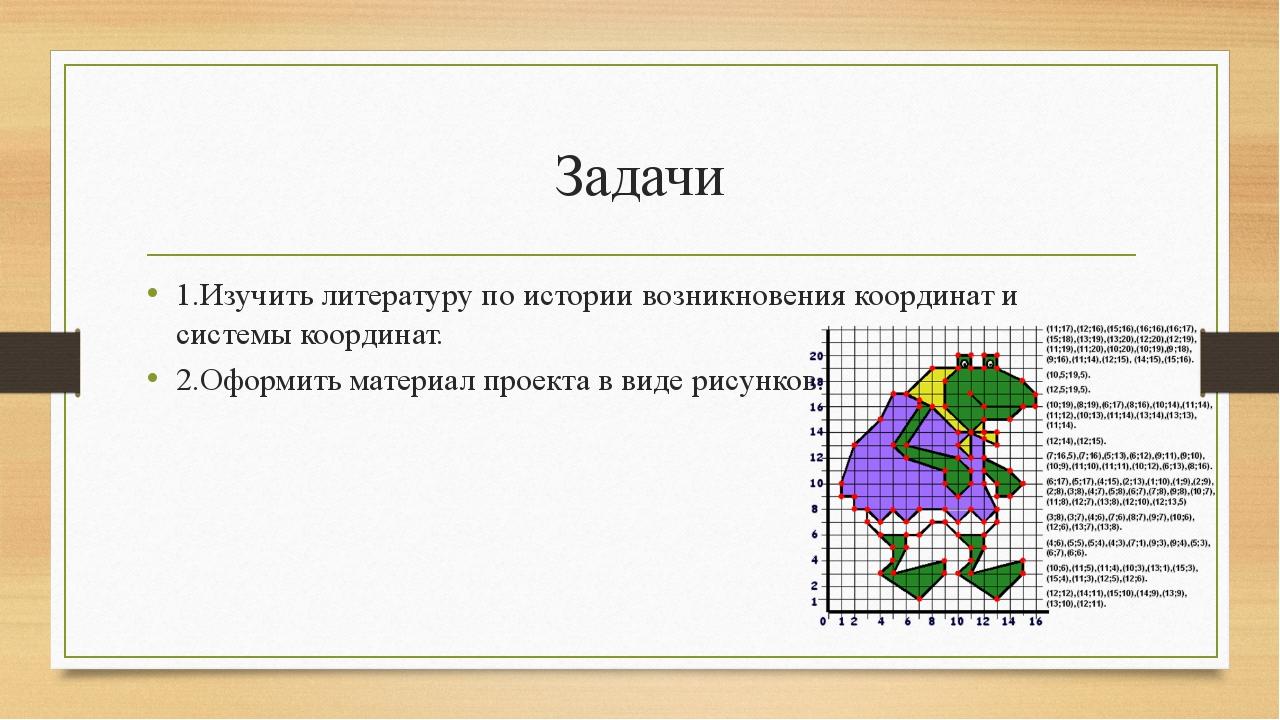 Задачи 1.Изучить литературу по истории возникновения координат и системы коор...