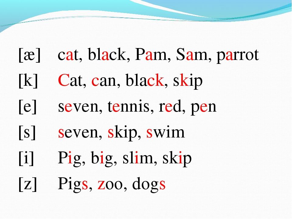[æ] [k] [e] [s] [i] [z] cat, black, Pam, Sam, parrot Cat, can, black, skip se...