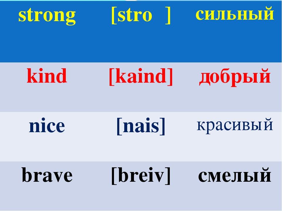 strong[stroη]сильный kind[kaind]добрый nice[nais]красивый brave[breiv...