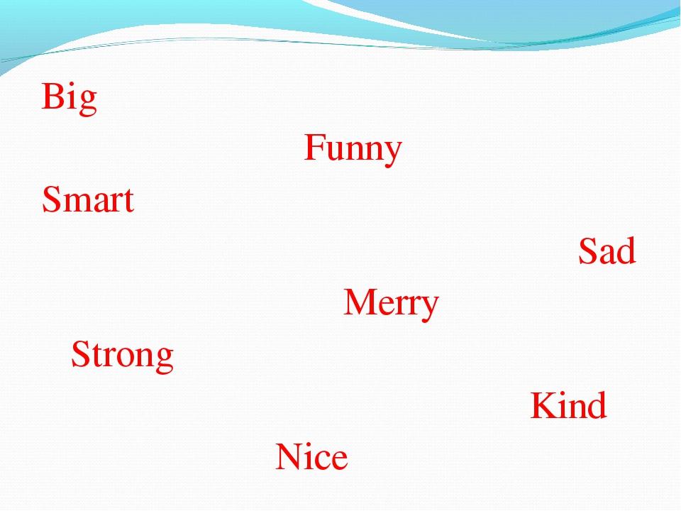 Big Funny Smart Sad Merry Strong Kind Nice