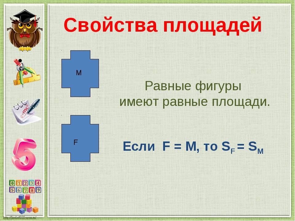 Свойства площадей Равные фигуры имеют равные площади. F М Если F = М, то SF =...