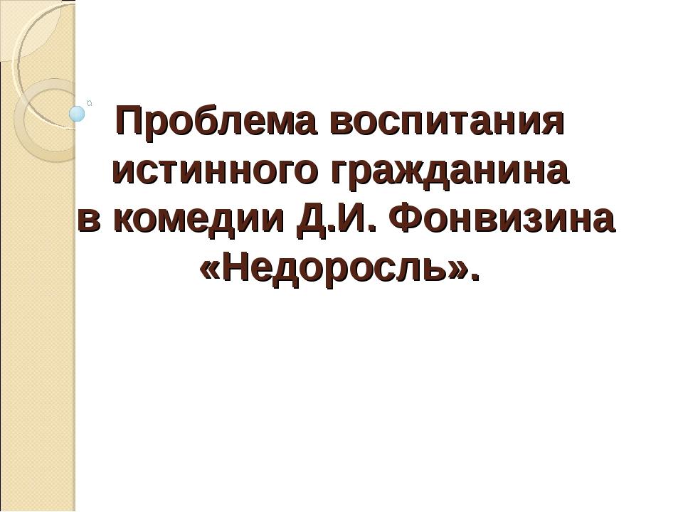 Проблема воспитания истинного гражданина в комедии Д.И. Фонвизина «Недоросль».