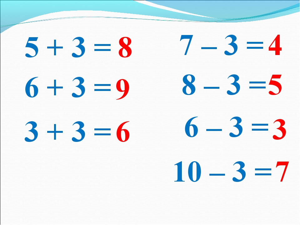5 + 3 = 6 – 3 = 7 – 3 = 8 – 3 = 6 + 3 = 10 – 3 = 3 + 3 = 8 9 6 4 5 3 7
