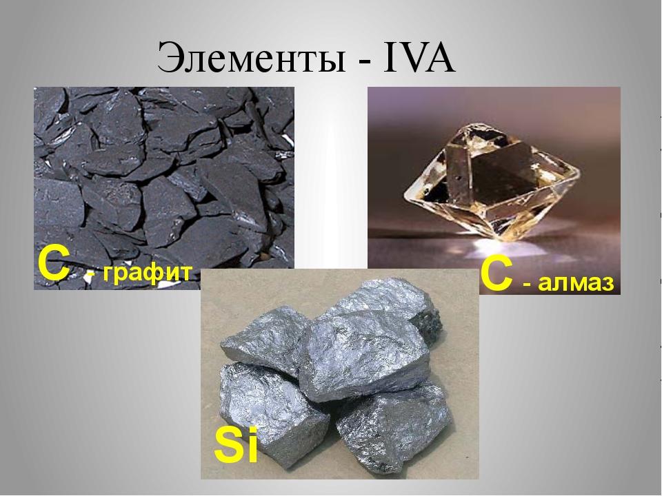 Элементы - IVA C - графит С - алмаз Si