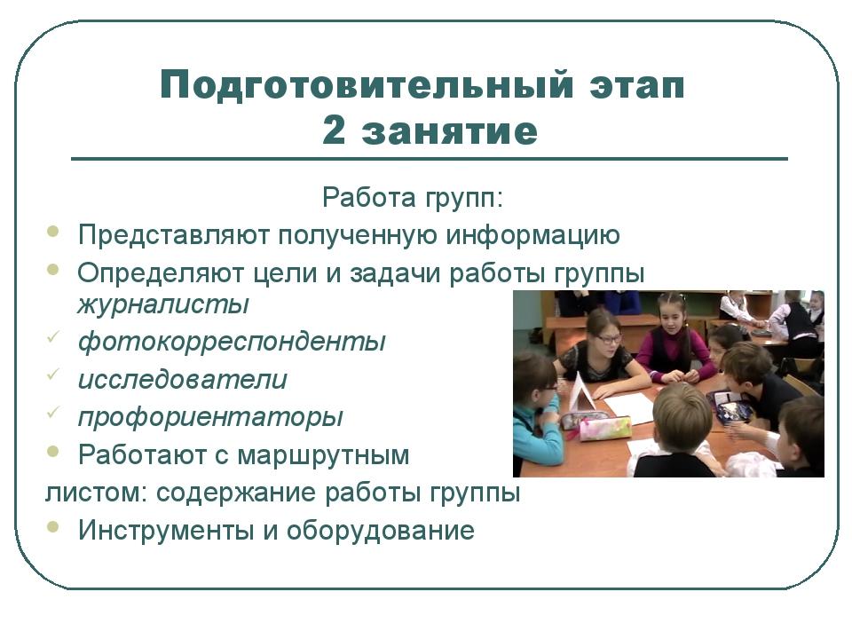 Подготовительный этап 2 занятие Работа групп: Представляют полученную информа...