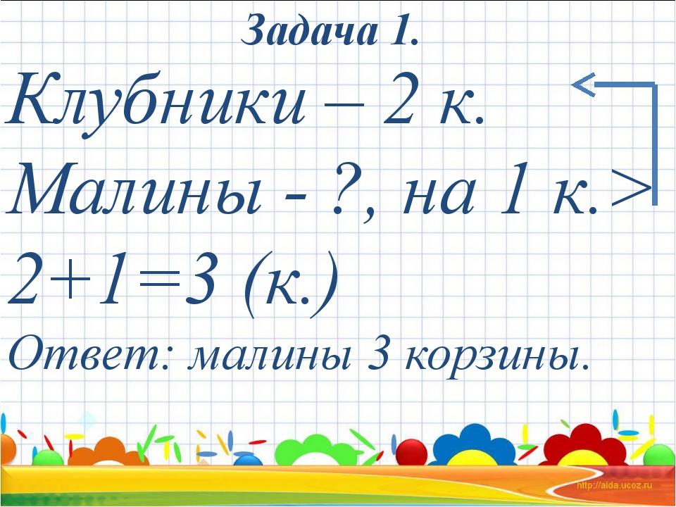 Клубники – 2 к. Малины - ?, на 1 к.> 2+1=3 (к.) Ответ: малины 3 корзины. Зад...