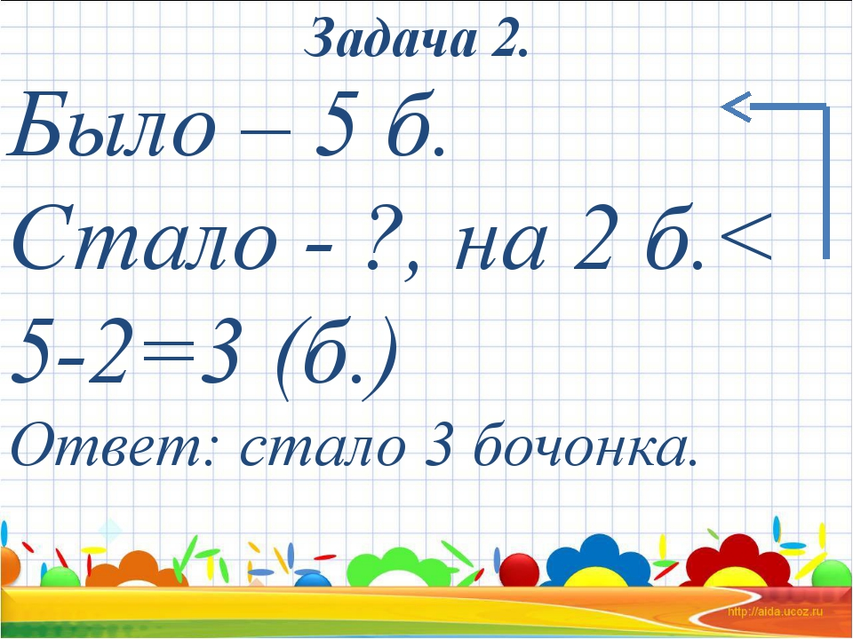 Было – 5 б. Стало - ?, на 2 б.< 5-2=3 (б.) Ответ: стало 3 бочонка. Задача 2.